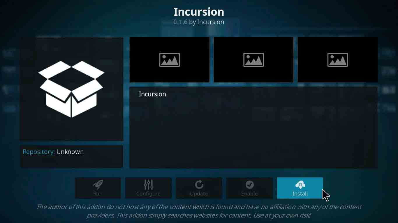 incursion kodi setup