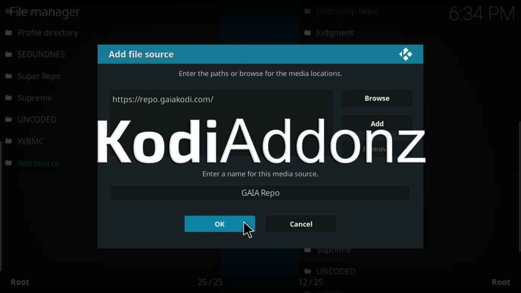 how to install gaia kodi on krypton version 17.6 or lower